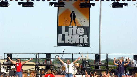 Go Fish performs on stage at the 2003 LifeLight music festival at the W.H. Lyon Fairgrounds. -  Go Fish preforms on stage at the LifeLight outdoor music festival, Saturday afternoon at the fairgrounds. 30 Aug. 2003