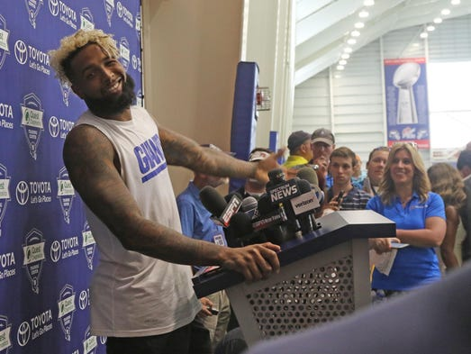 Odell Beckham Jr. just as he is about to finish addressing