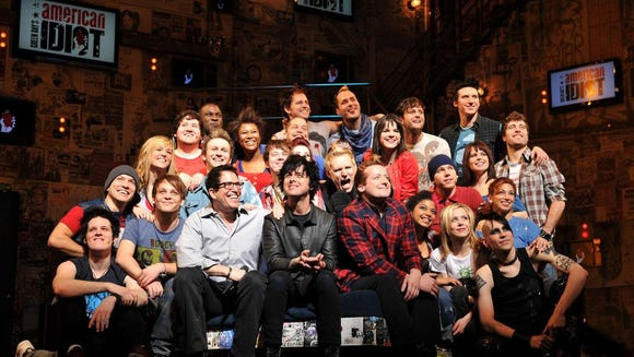 """The Broadway cast of """"American Idiot"""" with Green Day"""
