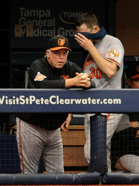 Baltimore Orioles starter Chris Tillman, right, walks by manager Buck Showalter as he heads for the clubhouse after he was pulled during the fifth inning of a baseball game against the Tampa Bay Rays Sunday, June 25, 2017, in St. Petersburg, Fla. (AP Photo/Steve Nesius)