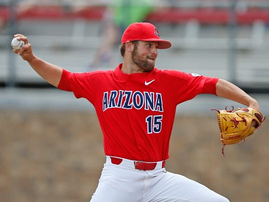 Arizona's Cody Deason (15) pitches the ball against Sam Houston State during an NCAA college baseball regional game Sunday, June 4, 2017, in Lubbock, Texas. (Brad Tollefson/Lubbock Avalanche-Journal via AP)