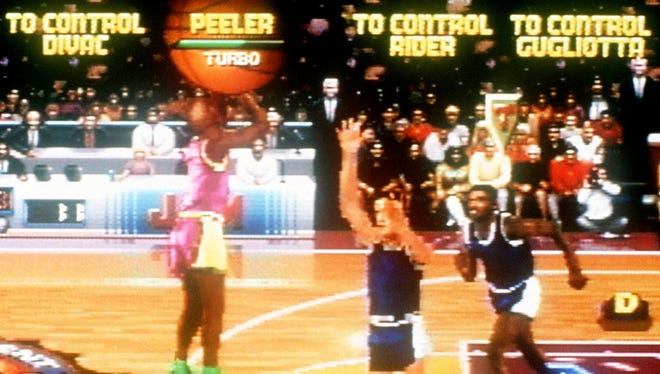 A screenshot of the video game NBA Jam for the Super Nintendo Entertainment System.