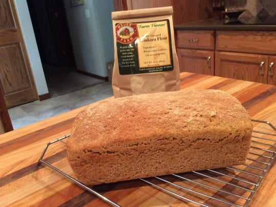 A loaf of bread made with einkorn flour.