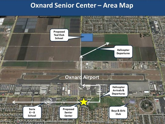 A proposed City of Oxnard senior center is directly across the street from Oxnard Airport, raising safety concerns.