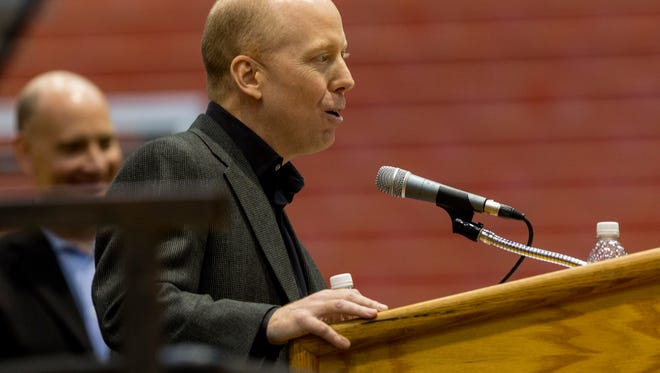 Cincinnati head coach Mick Cronin speaks to fans during Sunday's NCAA tournament Selection Show watch party at Fifth Third Arena.