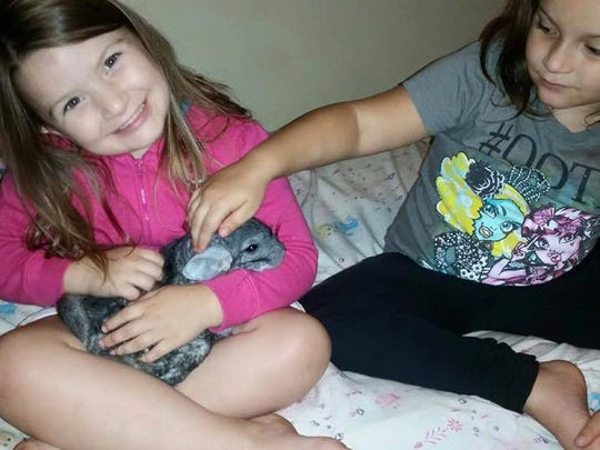 Hailey and Sara Sites cuddle a chinchilla that was recovered from a hoarder's house.
