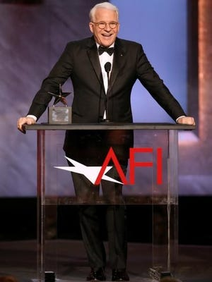 Honoree Steve Martin accepts his award at the 43rd AFI Lifetime Achievement Award Tribute Gala at the Dolby Theatre in Los Angeles.