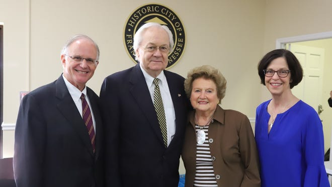 From left are Julian Bibb, Leadership Franklin board chair; Ralph Drury, award recipient; Caroline J. Cross, Leadership Franklin founder; and Paula Harris, Leadership Franklin executive director.