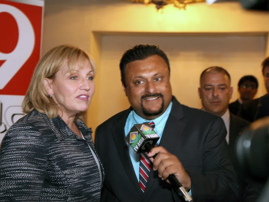 Lt. Gov. Kim Guadagno is pictured with Sam Khan of