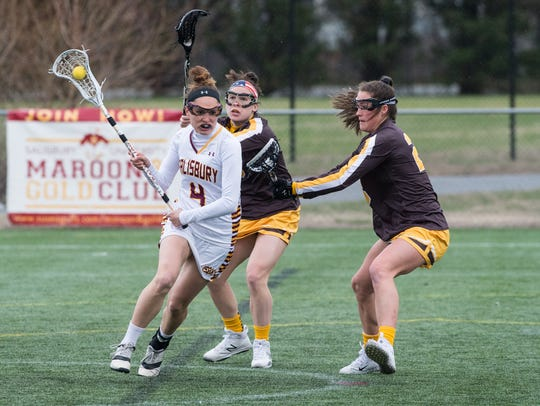 Salisbury University's Gabrielle Mongno (4) moves the
