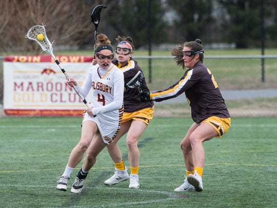 Salisbury University's Gabrielle Mongno (4) moves the ball during a game against Rowan University on Tuesday, March 6, 2018.