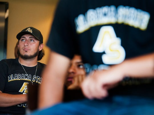 Alabama State University baseball player Joseph Camacho waits to find out who ASU will be playing in the NCAA Baseball Regionals during a watch party at the ASU campus in Montgomery, Ala., on Monday May 30, 2016.