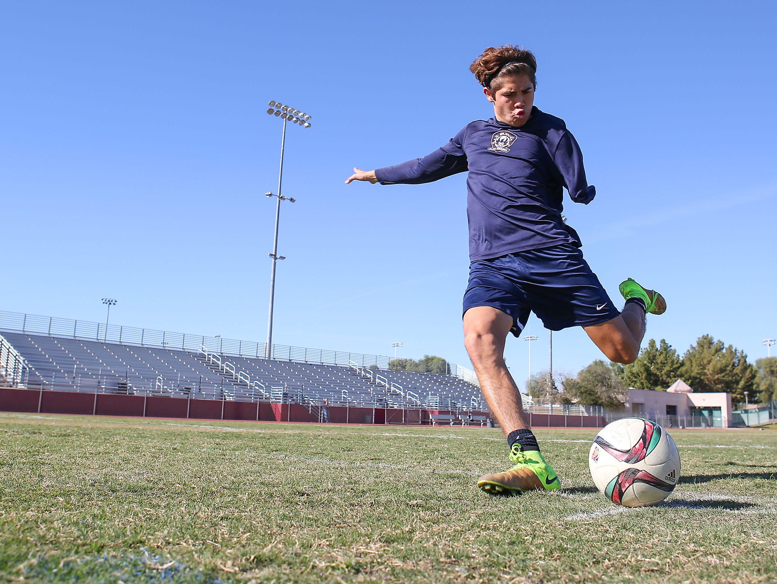 Lucas Rosales is a senior soccer player at La Quinta High School, November 22, 2016.