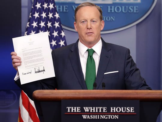 White House press secretary Sean Spicer conducts the