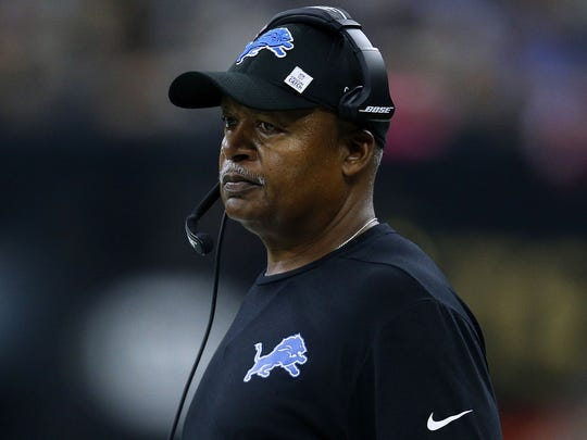 Jim Caldwell reacts in the first half of the Lions' 52-38 loss to the Saints at the Mercedes-Benz Superdome on Oct. 15, 2017 in New Orleans.