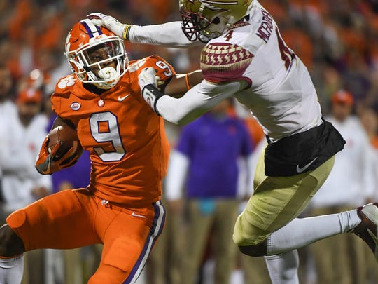Florida State defensive back Tarvarus McFadden (4) defends Clemson cornerback Brian Dawkins Jr. (9) at Clemson Memorial Stadium on Saturday, November 11, 2017.