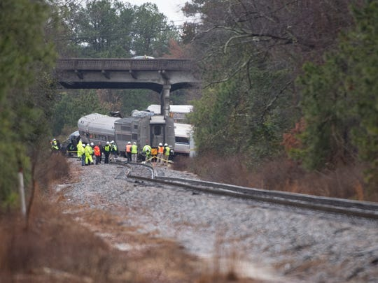 The site of a train derailment near Cayce, SC on Sunday,