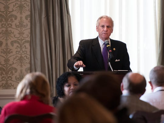 Governor Henry McMaster speaks to Upstate Republican Women at the Poinsett Club in Greenville on Monday, March 19, 2018.