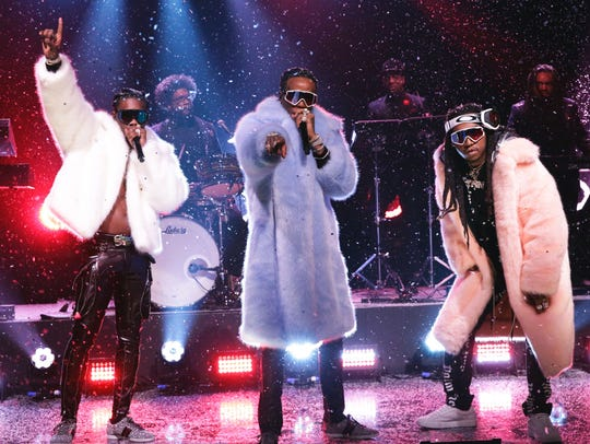 """Migos, shown during a recent appearace on """"The Tonight"""