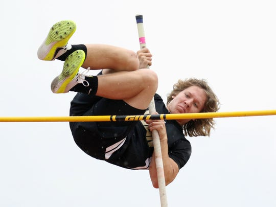 Buffalo Gap's Tucker Kiracofe clears a height on his way to a second-place finish in the Class 2 boys pole vault at the VHSL Class 1 & 2 state track and field championships at East Rockingham High School in Elkton on Saturday, June 2, 2018.