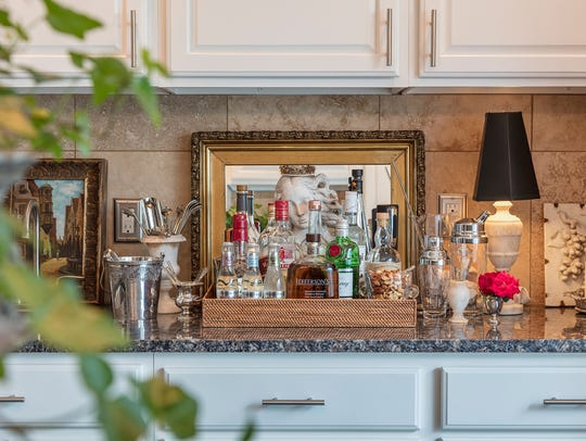 A beautifully styled bar is always at the ready in