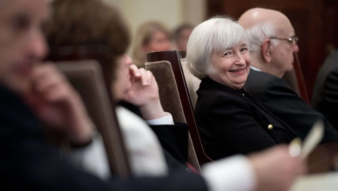 US Federal Reserve vice-chair Janet Yellen attends a ceremony marking the centennial of the founding of the Federal Reserve in Washington on December 16.