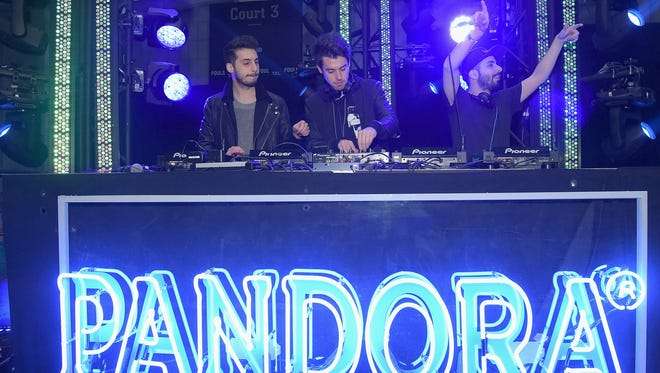 NEW YORK, NY - DECEMBER 10: (L-R) Jean Paul Makhlouf, Samuel Frisch and Alex Makhlouf perform onstage Dec. 10, 2015, at Pandora Holiday at Pier 36, a concert and livestreaming music event in New York City presented by Pandora
