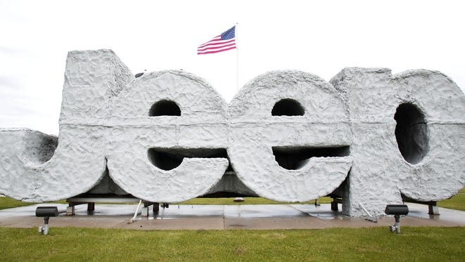 TOLEDO, OH - MAY 7:  A Jeep sign sits in front of the Chrysler Toledo North Assembly Plant where Jeep Wranglers and Cherokees are assembled. (Photo by Bill Pugliano/Getty Images)