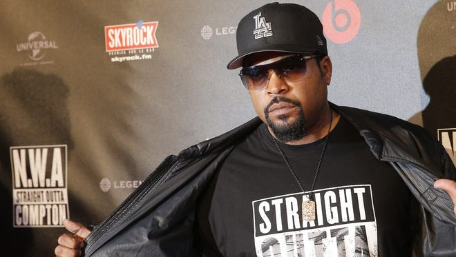 """U.S music producer and rapper Ice Cube poses in Paris. The Library of Congress announced Wednesday, March 29, 2017, that N.W.A's album, """"Straight Outta Compton,"""" would be preserved for posterity. The library selects 25 recordings every year for the registry in recognition of their historical, artistic or cultural significance."""