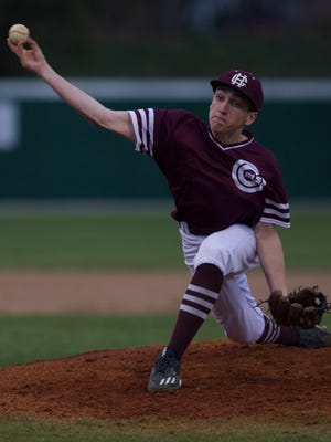 Henderson County's Jake Murdach pitches to a Union County batter during their game in Henderson Friday night.