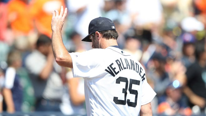 Justin Verlander of the Detroit Tigers waves the the fans after the final out of the eighth inning against the Minnesota Twins on July 20, 2016, at Comerica Park.