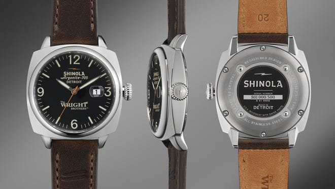 Limited-edition Wright brothers watches by Shinola that were for sale in late 2013.