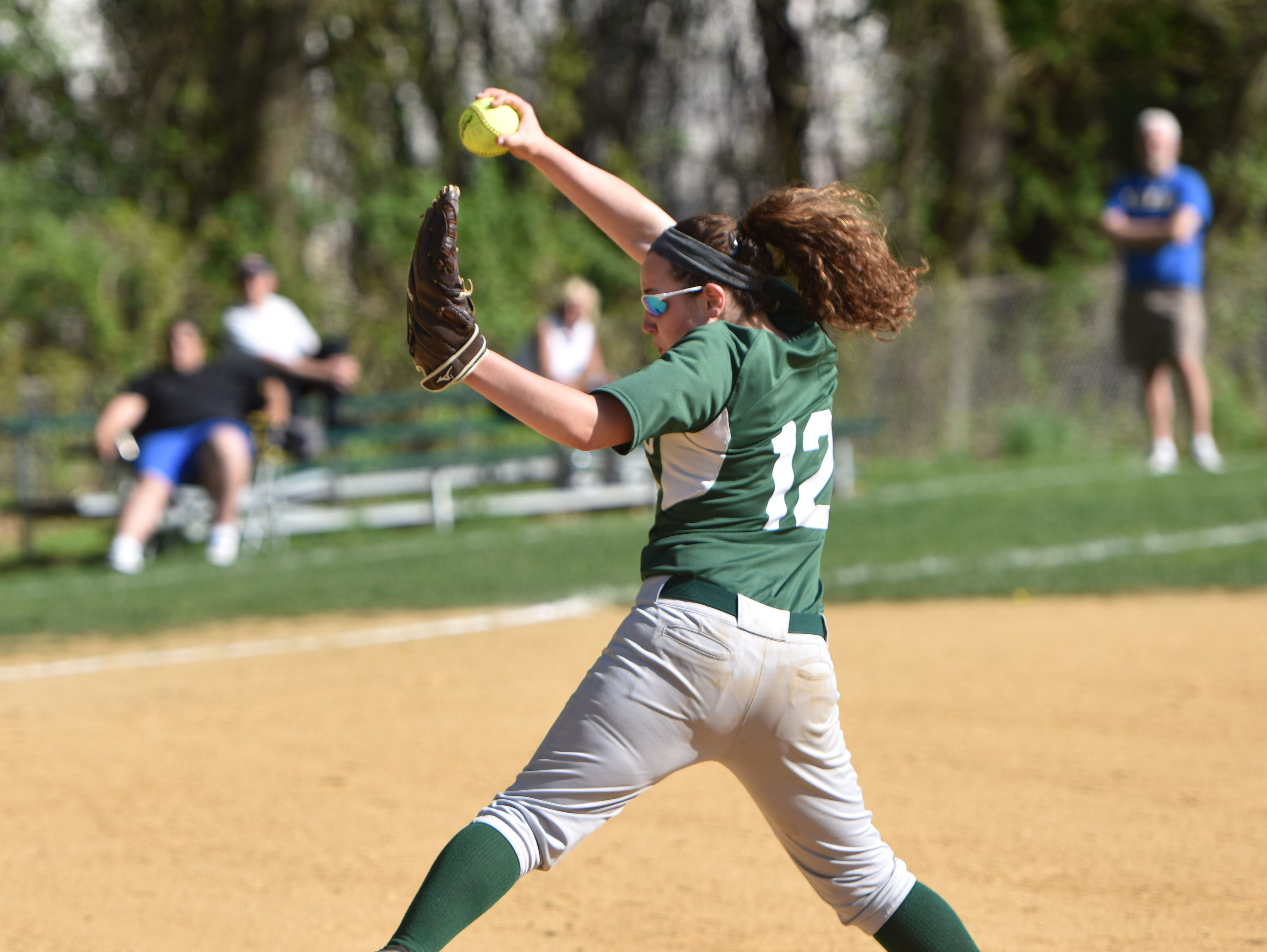 Spackenkill's Gabi Mastrantuono pitches during a May 7, 2015 game against Rhinebeck in Poughkeepsie.
