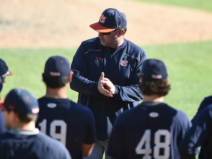 Auburn head coach Butch Thompson leading a preseason practice on Jan. 30. Thompson's pitching staff gave up 31 runs in a weekend series against No. 3 Texas A&M.