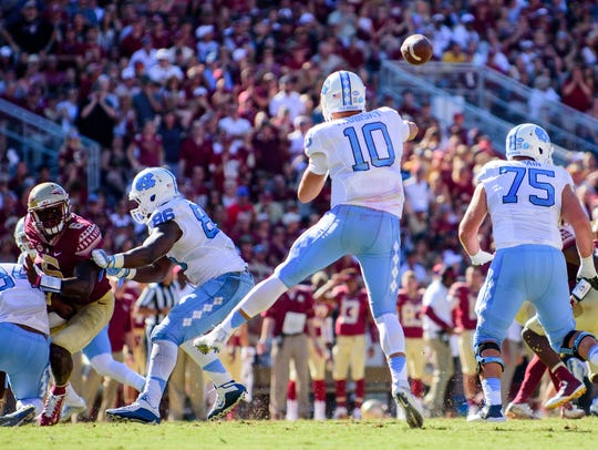Mitch Trubisky threw for 405 yards on 31 of 38 passing