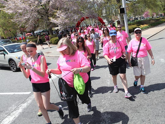 Hundreds of people participating in the annual New Jersey AIDS Walk, Sunday, May 3, 2015. Morristown, NJ.