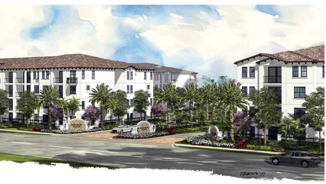 The Addison Place apartment buildings under construction near the northwest corner of Immokalee Road and Collier Boulevard will look the same as this rendering of another project on Florida's east coast.