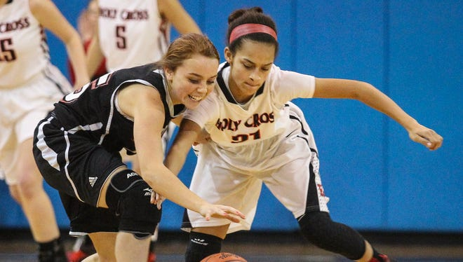 Ludlow's Alexis Wyrck and Holy Cross' Aleah Tucker battle for a loose ball during the Indians' victory Wednesday.