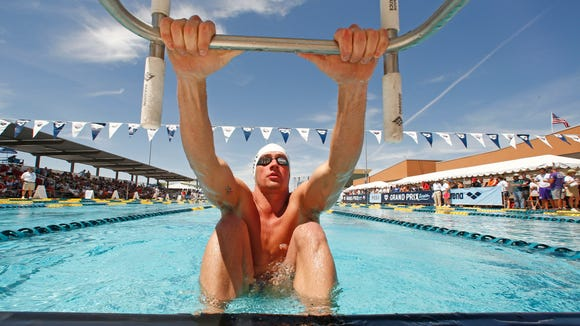 Ryan Lochte prepares to start in the Men's 200 Meter Backstrokes Prelims at the Arena Grand Prix on Friday, April 25, 2014 at Skyline Aquatic Center in Mesa, AZ. Mandatory Credit: Rob Schumacher-USA TODAY Sports