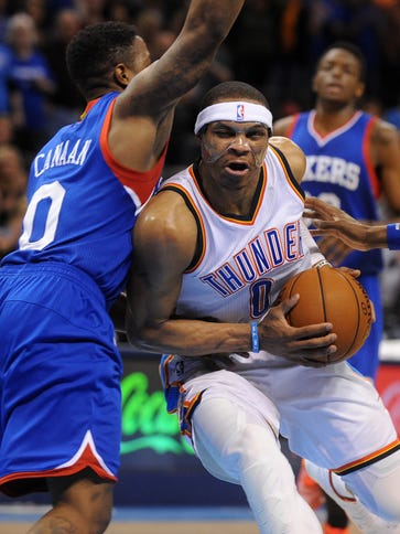 Thunder guard Russell Westbrook drives Wednesday against