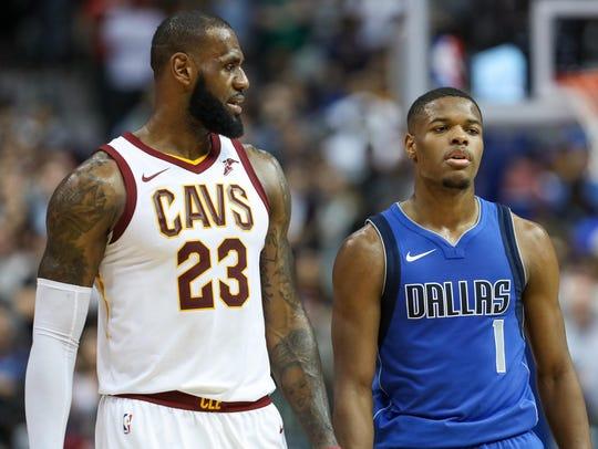 Cleveland Cavaliers forward LeBron James (23) talks