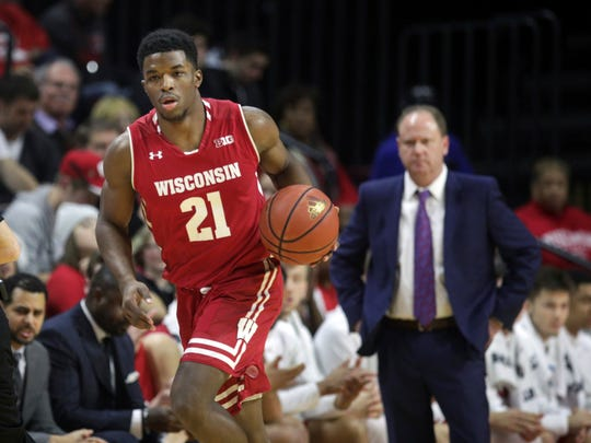 As head coach Greg Gard watches, Wisconsin's Khalil