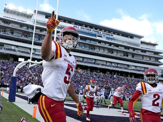 Iowa State wide receiver Allen Lazard (5) celebrates after scoring a touchdown during the first half of an NCAA college football game against Kansas State Saturday, Nov. 21, 2015, in Manhattan, Kan.