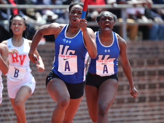 Amaya Chadwick runs the anchor leg as Khamil Evans,