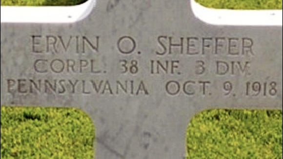 Grave marker of Ervin O. Sheffer, in Meuse-Argonne American Cemetery in France (Find A Grave photo)