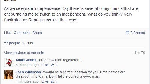 This is a screen shot from state Sen. Brad Zaun's Facebook page tonight, July 4, 2014.