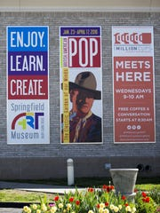 Outdoor signs promoted events held at Springfield Art Museum, including a Pop Art exhibit closed due to the theft of seven Andy Warhol screenprints April 7, 2016.