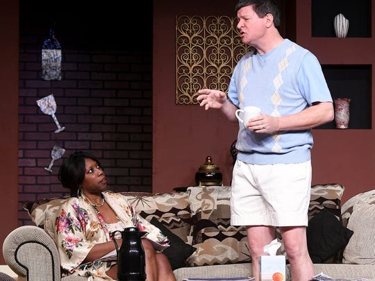 """Eric Gustafson plays the charachter Brian and Kanashay Grayeagle plays Mary in """"Remember Me?"""" at the Mansfield Community Playhouse."""
