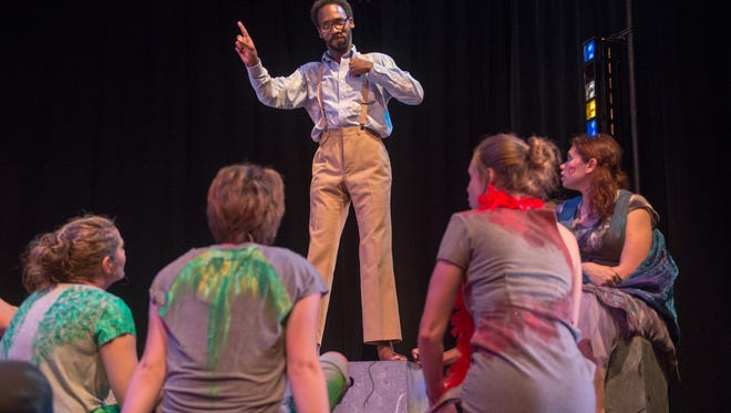 """Malik Paris performs in a rehearsal of the NTID Performing Arts Program's production of """"Godspell"""" on May 26."""