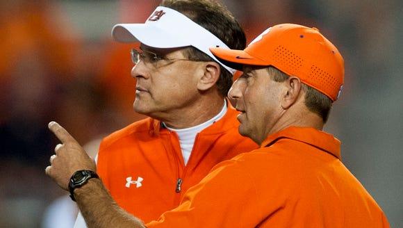 Clemson head coach Dabo Swinney and Auburn head coach